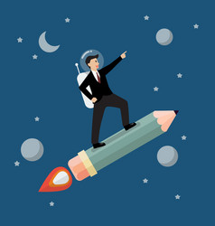 Businessman astronaut on pencil rocket vector