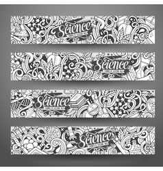 Cartoon doodles science banners vector
