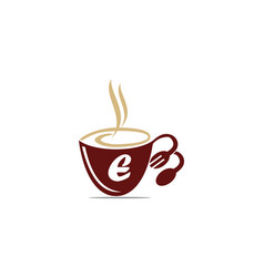 Coffee cup restaurant letter e vector
