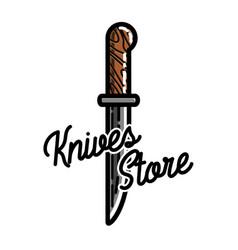 Color vintage knives store emblem vector