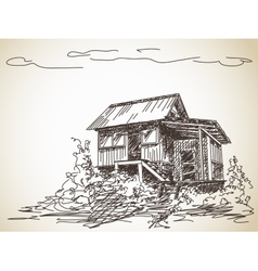 Countryside wooden house vector