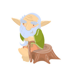Cute old bearded troll character sitting on a vector