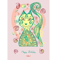 doodle cat card vector image