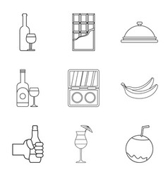drinking evening icons set outline style vector image