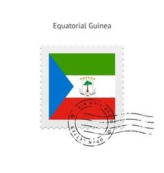 Equatorial guinea flag postage stamp vector