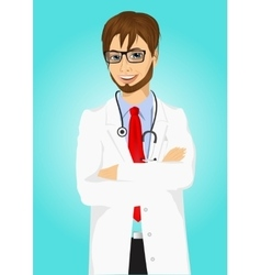 Experienced male doctor posing vector