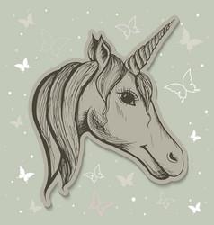 Fabulous card with a unicorn vector