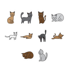 Flat color cat icon set vector