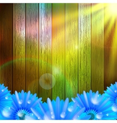 Flower with dew on wood plus EPS10 vector image vector image