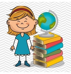 girl student books global vector image