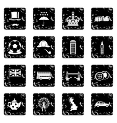 Great Britain set icons grunge style vector image vector image