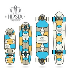 Hipster print for longboard vector
