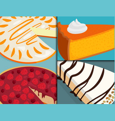 homemade organic pie dessert cards vector image