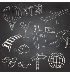 Icons travel on blackboard vector image