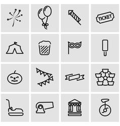 Line carnival icon set vector