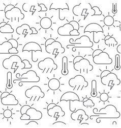 Line style icons seamless pattern weather vector