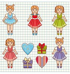 little ballerina cartoon style baby doll vector image