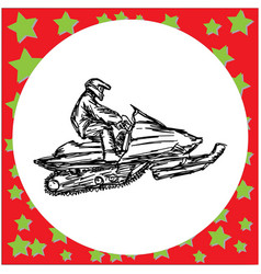 Man is engaged in snowmobile vector