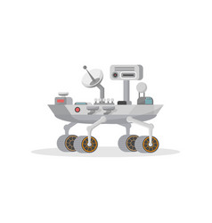 Mars rover with camera and antenna icon vector