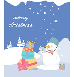 Merry christmas greeting card snowman vector