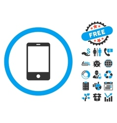 Mobile Phone Flat Icon with Bonus vector image vector image