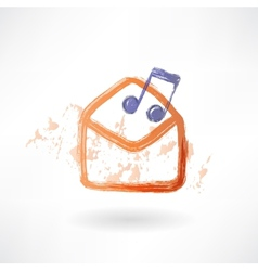 Music envelope grunge icon vector