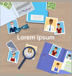 office desk with cv photos from resume hr manager vector image vector image