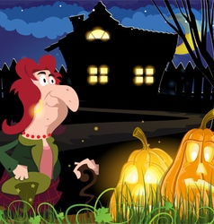 Old witch near the house vector