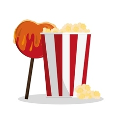 Pop corn and sweet apple of carnival design vector