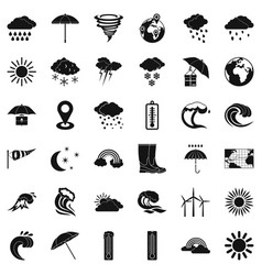 Rainy weather icons set simple style vector