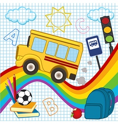 School bus travels over rainbow vector