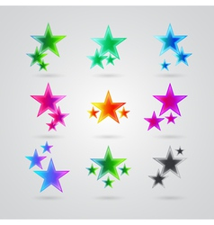 set of colorful stars vector image vector image