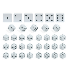 set of isometric dice combination white poker vector image vector image
