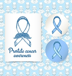 Sketch prostate cancer poster and lables vector