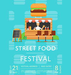 Street food festival invitation in flat style vector