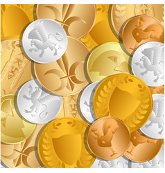 The background of the coins the treasure of gold vector