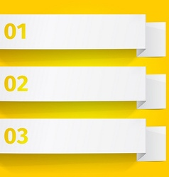 Three white sheets of paper on a yellow background vector image