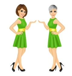 Two beautiful professional fair hostess women vector image vector image