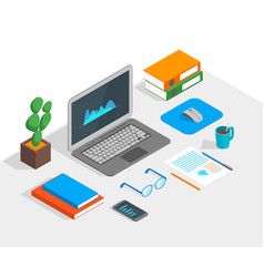 workspace concept 3d isometric view vector image vector image