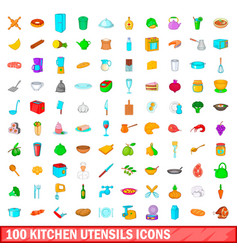 100 kitchen utensils icons set cartoon style vector