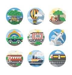 Mode of transport color detailed icons set vector
