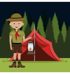 scout character with lamp isolated icon design vector image