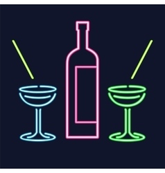 Neon cocktail glasses and bottle vector