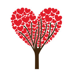 tree ramifications with hearts leaves vector image