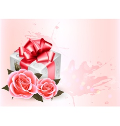 Holiday background with pink roses and gift box vector