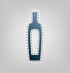 Olive oil bottle sign  blue icon with vector