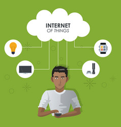 Internet things man with smartphone cloud vector