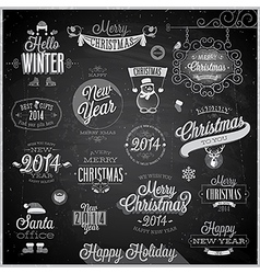 Christmas emblems3 chalk vector