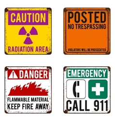 Safety signs on rusty metal placard vector