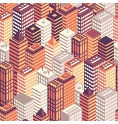 Colorful flat isometric city seamless pattern vector